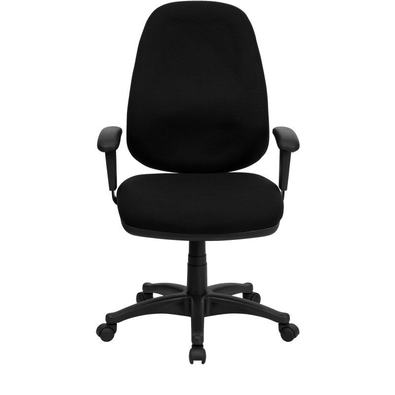 Flash Furniture High Back Black Fabric Executive Ergonomic Swivel Office Chair with Height Adjustable Arms