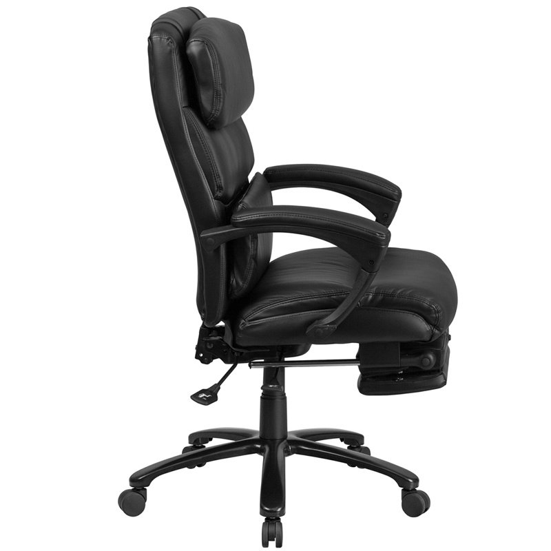 Flash Furniture High Back Black Leather Executive Reclining Swivel Chair with Comfort Coil Seat Springs and Arms (BT-90519H-GG)