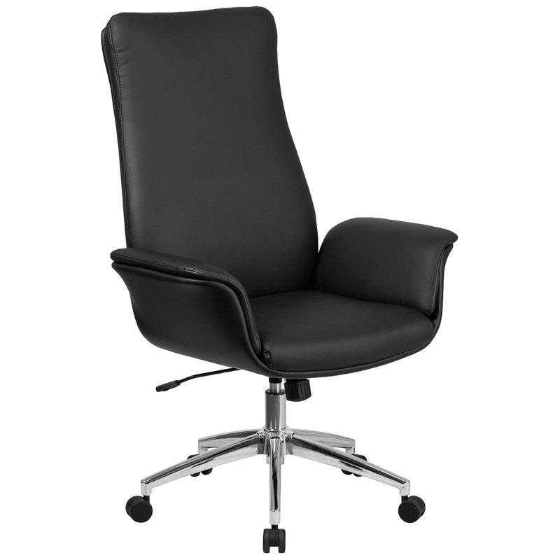 Flash Furniture High Back Black Leather Executive Swivel Chair with Flared Arms (BT-88-BK-GG)
