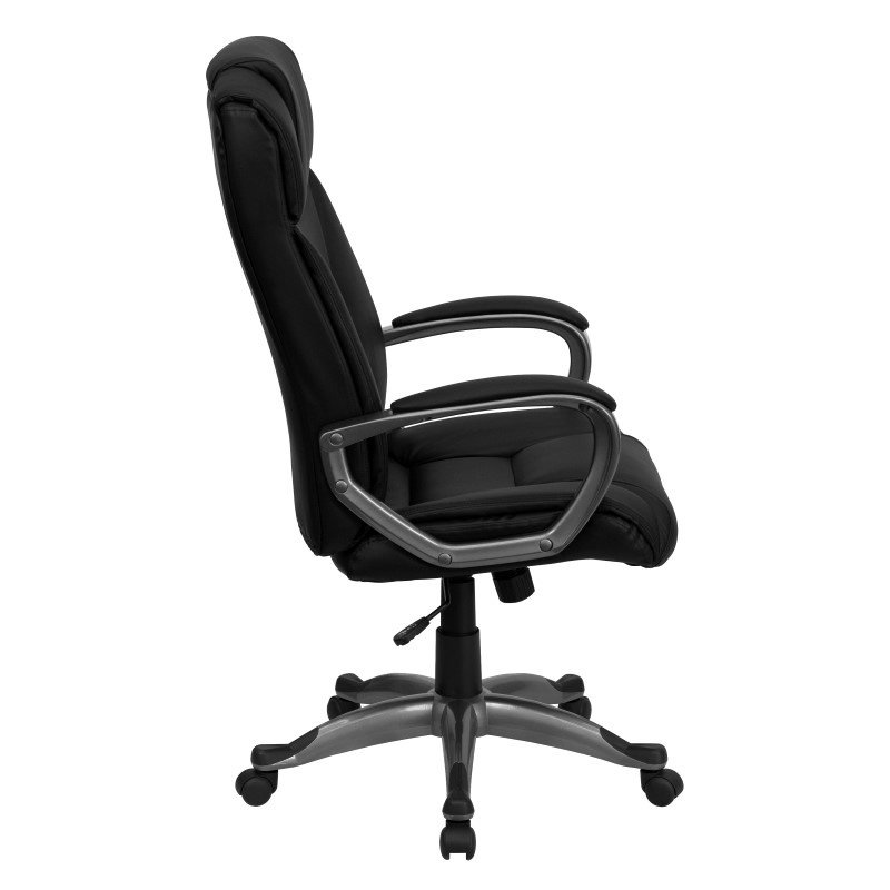 Flash Furniture High Back Executive Swivel Office Chair in Black Leather