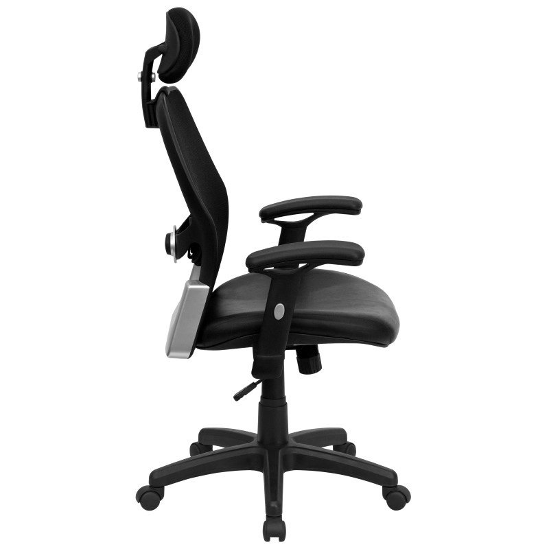 Flash Furniture High Back Black Super Mesh Executive Swivel Office Chair with Leather Padded Seat