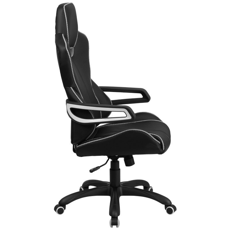 Flash Furniture High Back Black Vinyl Executive Swivel Office Chair with White Trim
