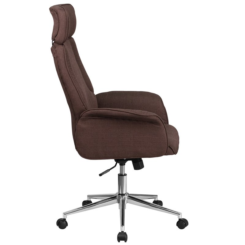 Flash Furniture High Back Brown Fabric Executive Swivel Office Chair with Chrome Base (CH-CX0944H-BN-GG)