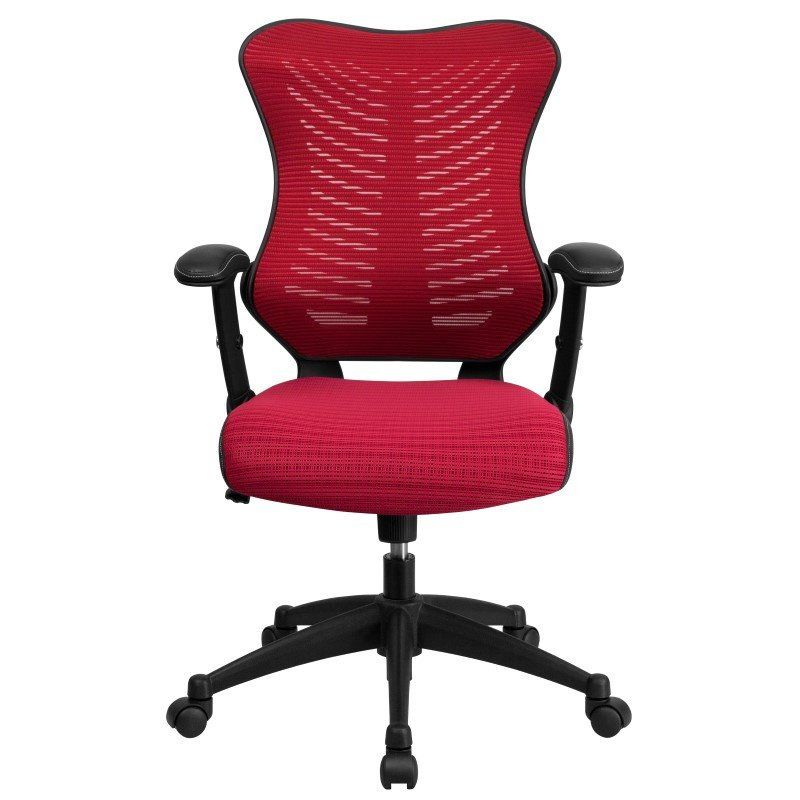 Flash Furniture High Back Burgundy Designer Mesh Executive Swivel Office Chair with Mesh Padded Seat