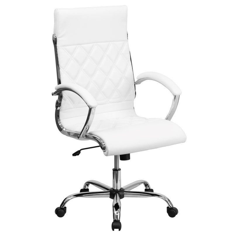 Flash Furniture High Back Designer White Leather Executive Swivel Office Chair with Chrome Base