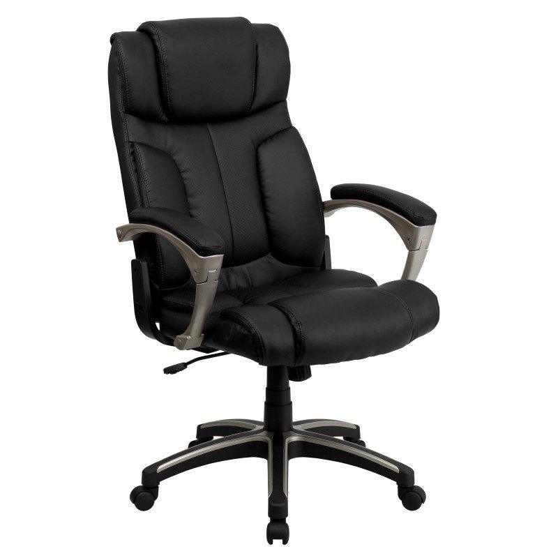 Flash Furniture High Back Folding Black Leather Executive Swivel Office Chair