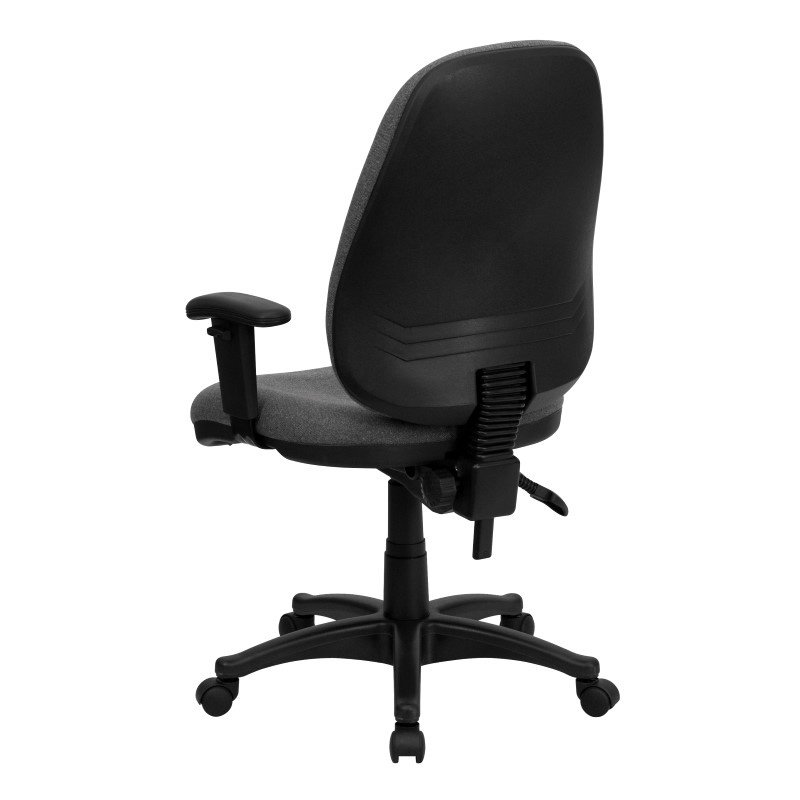 Flash Furniture High Back Gray Fabric Executive Ergonomic Swivel Office Chair with Height Adjustable Arms