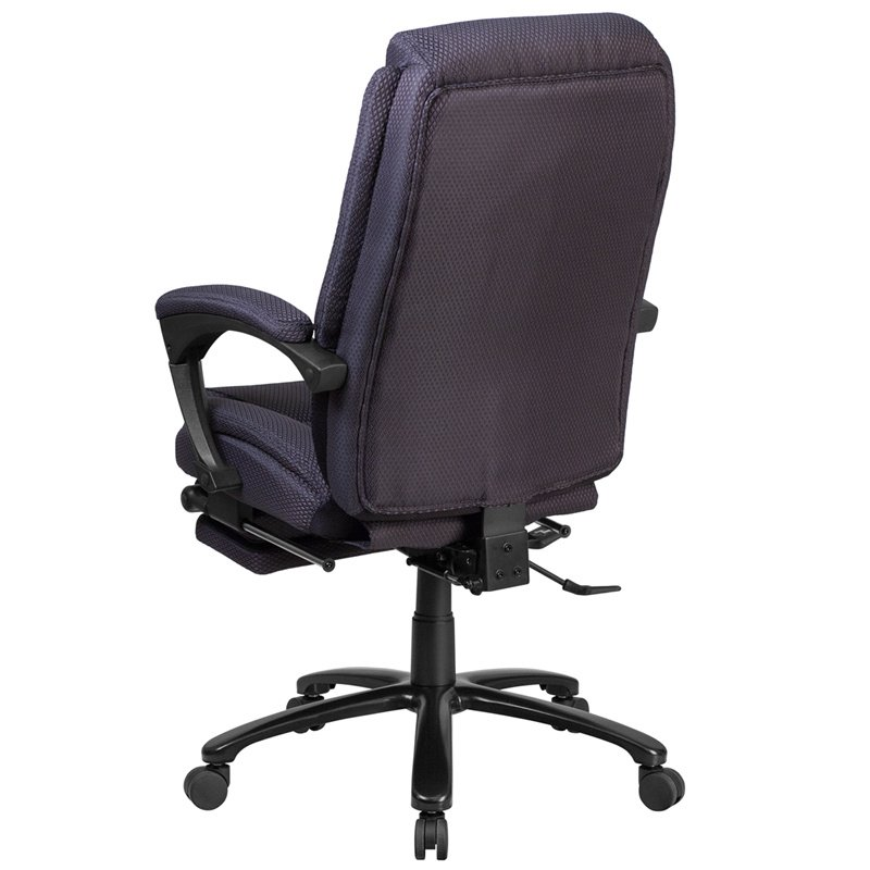 Flash Furniture High Back Gray Fabric Executive Reclining Swivel Office Chair with Comfort Coil Seat Springs and Padded Armrests (BT-90288H-GY-GG)