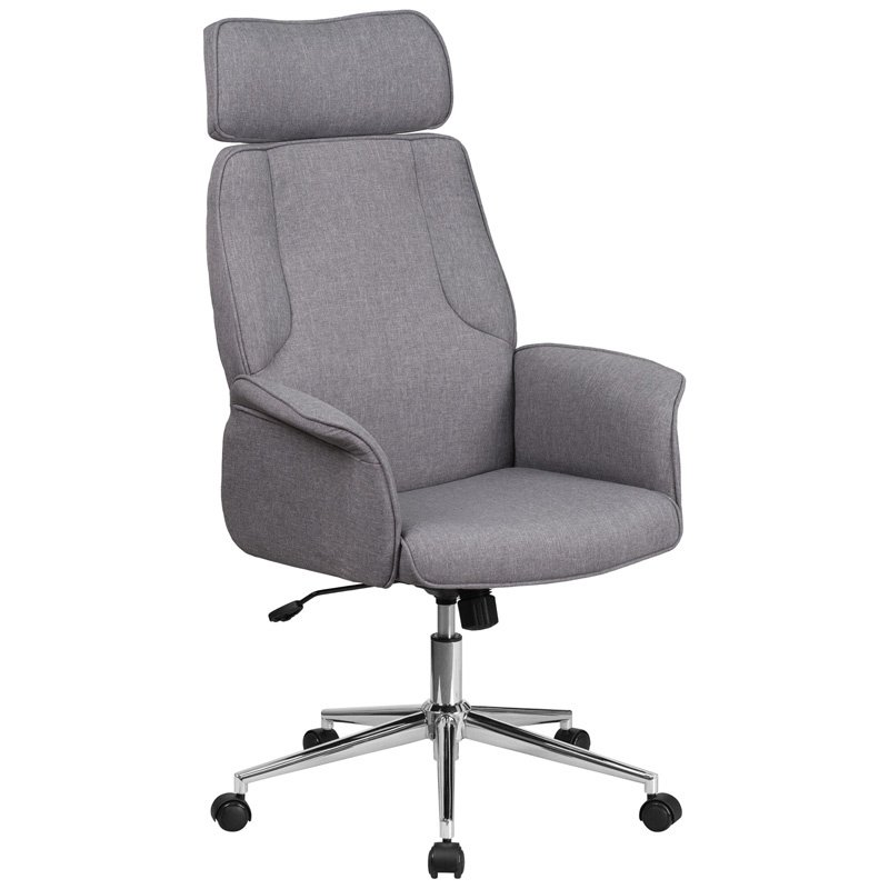 Flash Furniture High Back Gray Fabric Executive Swivel Office Chair with Chrome Base (CH-CX0944H-GY-GG)