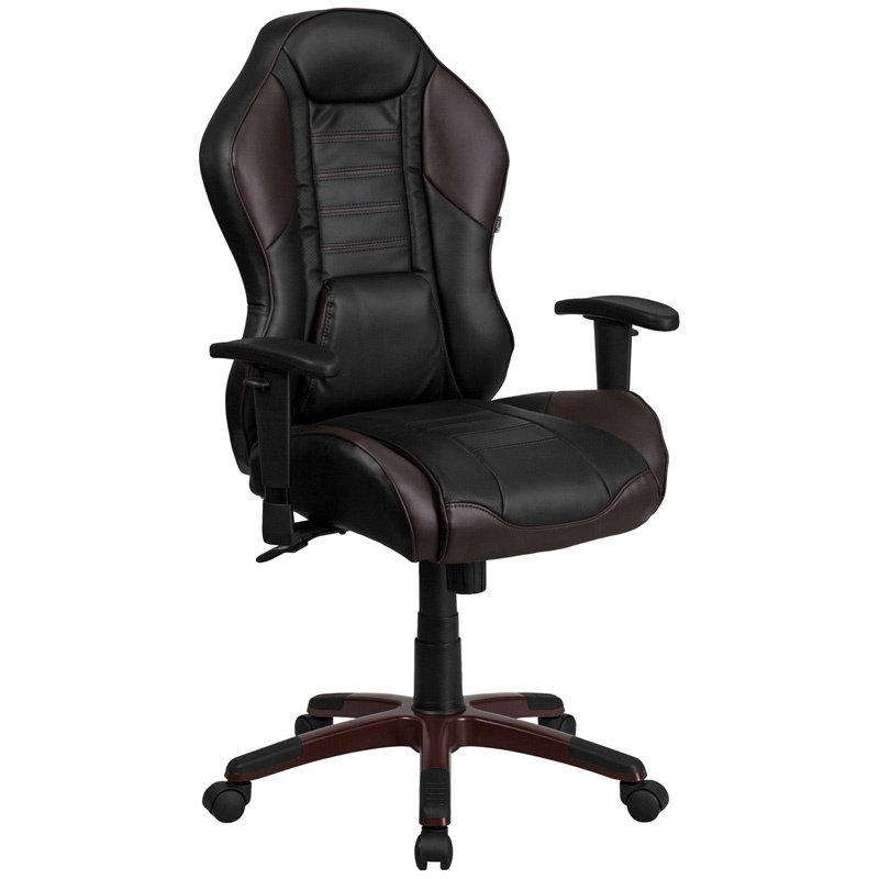 Flash Furniture High Back Marrone Eklipsis Brown Vinyl Executive Swivel Office Chair with Inner-Coil Spring Comfort Seat and Brown (CP-B329A02-BN-GG)