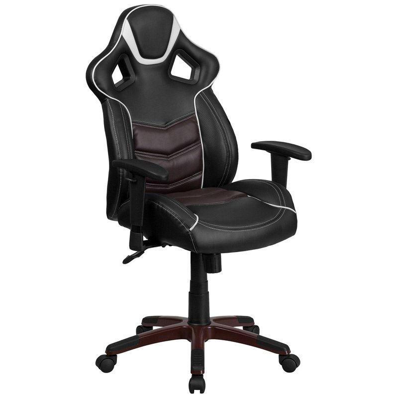 Flash Furniture High Back Marrone Eklipsis Brown Vinyl Executive Swivel Office/Game Chair with Inner-Coil Spring Comfort Seat and Brown Base