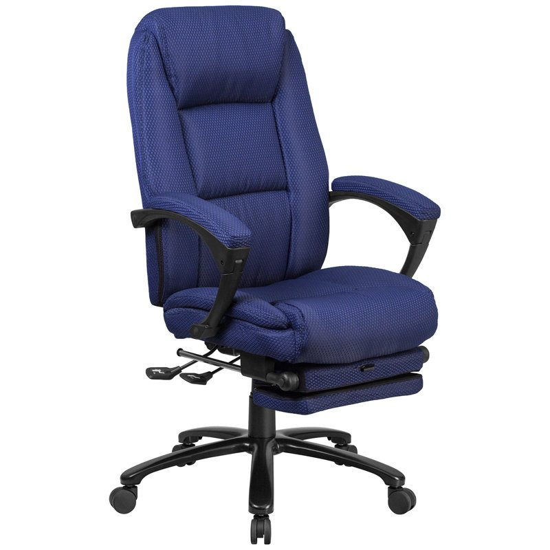 Flash Furniture High Back Navy Fabric Executive Reclining Swivel Office Chair with Comfort Coil Seat Springs and Padded Armrests (BT-90288H-NY-GG)