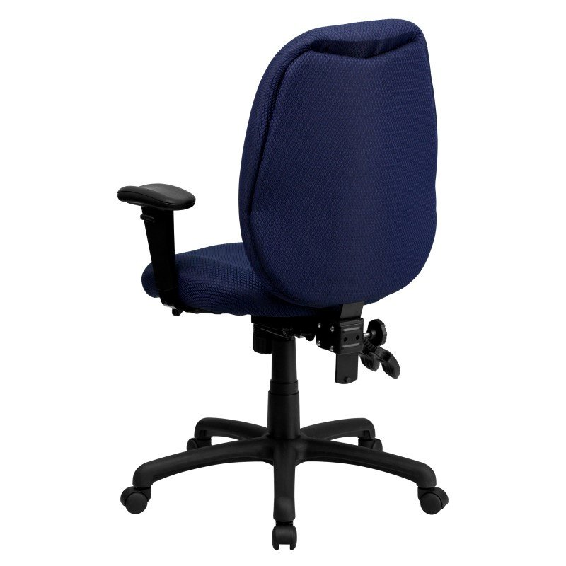 Flash Furniture High Back Navy Fabric Multi-Functional Ergonomic Executive Swivel Office Chair with Height Adjustable Arms