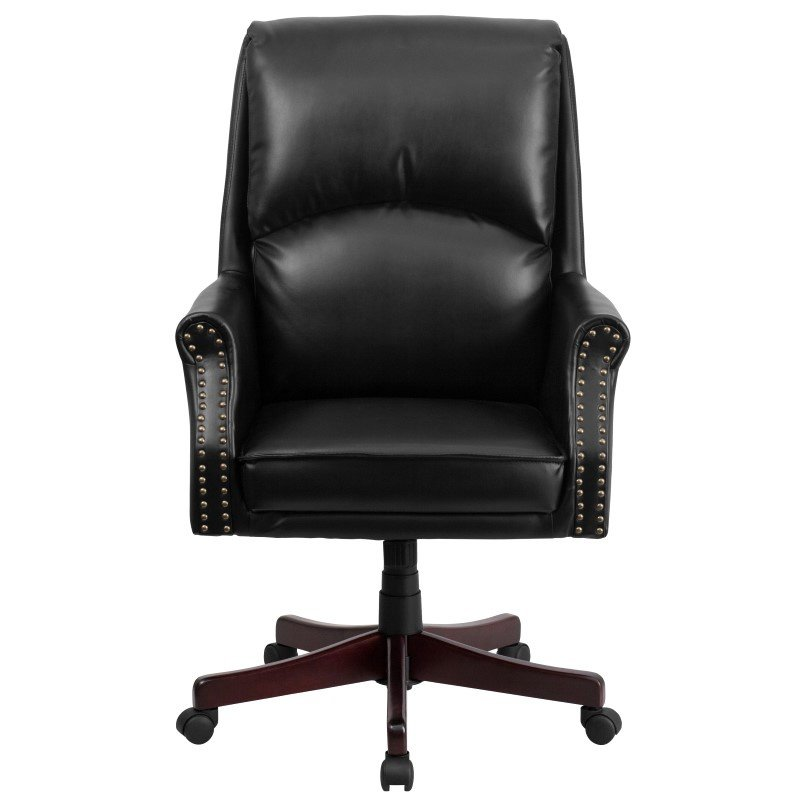 Flash Furniture High Back Pillow Back Black Leather Executive Swivel Office Chair
