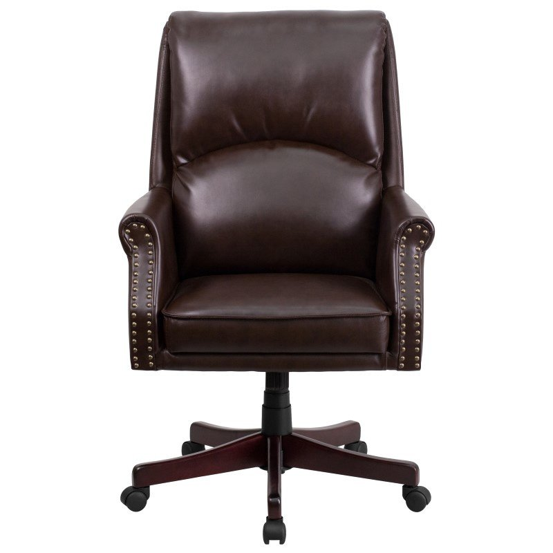 Flash Furniture High Back Pillow Back Brown Leather Executive Swivel Office Chair