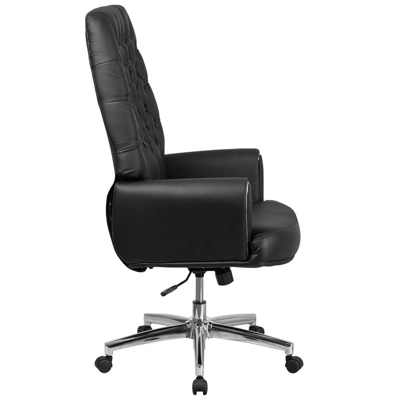 Flash Furniture High Back Traditional Tufted Black Leather Executive Swivel Chair with Arms (BT-444-BK-GG)