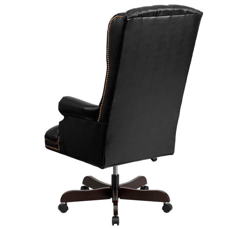 Flash Furniture High-Back Traditional Tufted Black Leather Executive Swivel Office Chair