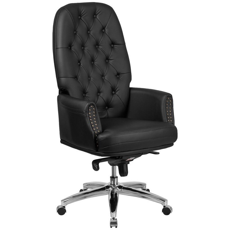 Flash Furniture High Back Traditional Tufted Black Leather Multifunction Executive Swivel Chair with Arms (BT-90269H-BK-GG)
