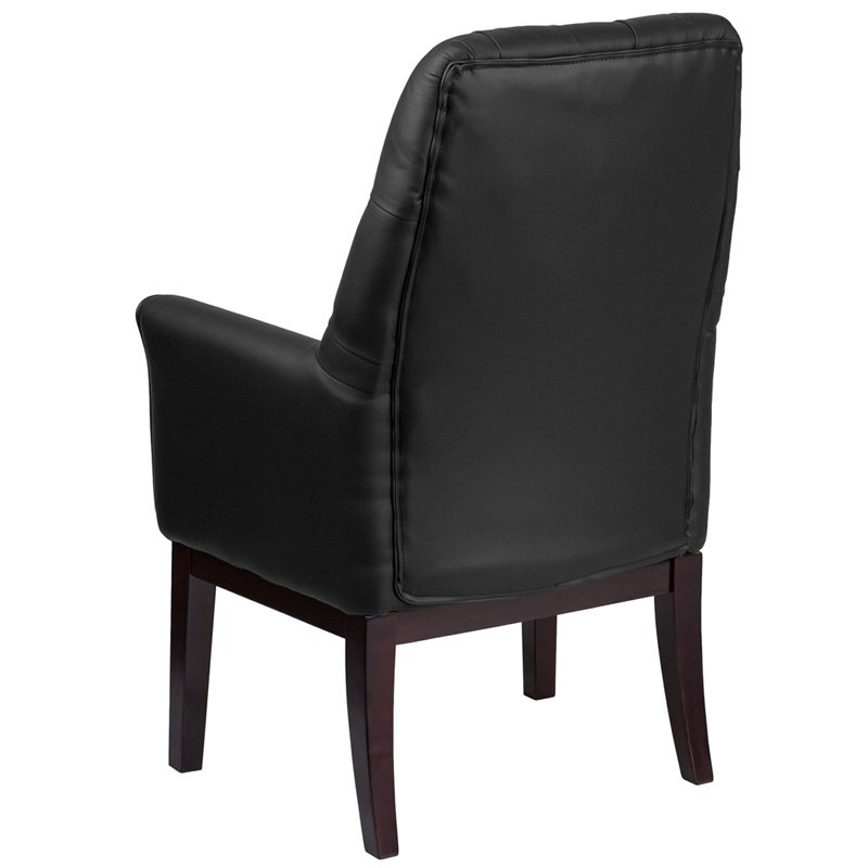 Flash Furniture High Back Traditional Tufted Black Leather Side Reception Chair (BT-444-SD-BK-GG)