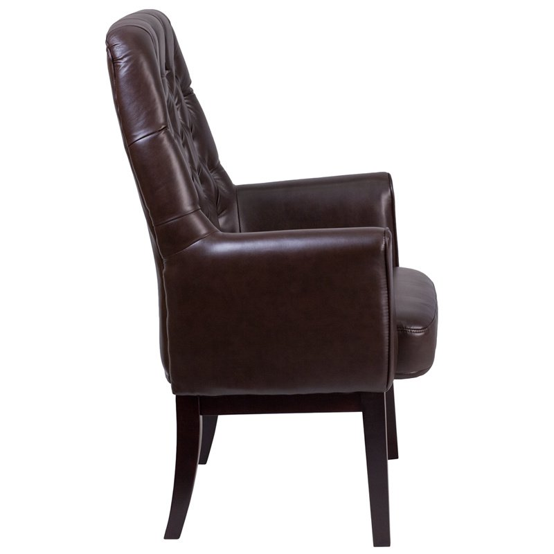 Flash Furniture High Back Traditional Tufted Brown Leather Side Reception Chair (BT-444-SD-BN-GG)