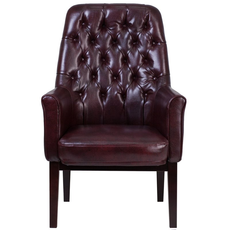 Flash Furniture High Back Traditional Tufted Burgundy Leather Side Reception Chair (BT-444-SD-BY-GG)