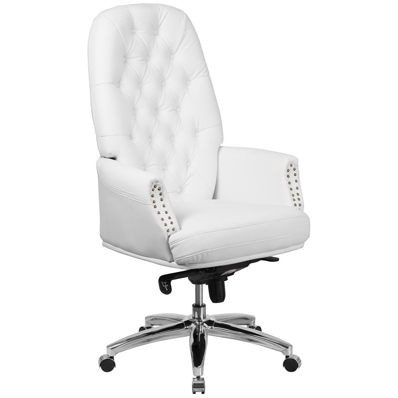 Flash Furniture High Back Traditional Tufted White Leather Multifunction Executive Swivel Chair with Arms (BT-90269H-WH-GG)