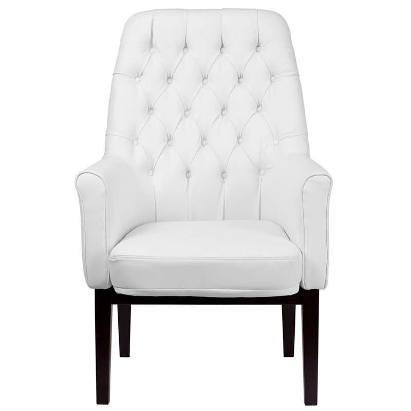 Flash Furniture High Back Traditional Tufted White Leather Side Reception Chair (BT-444-SD-WH-GG)