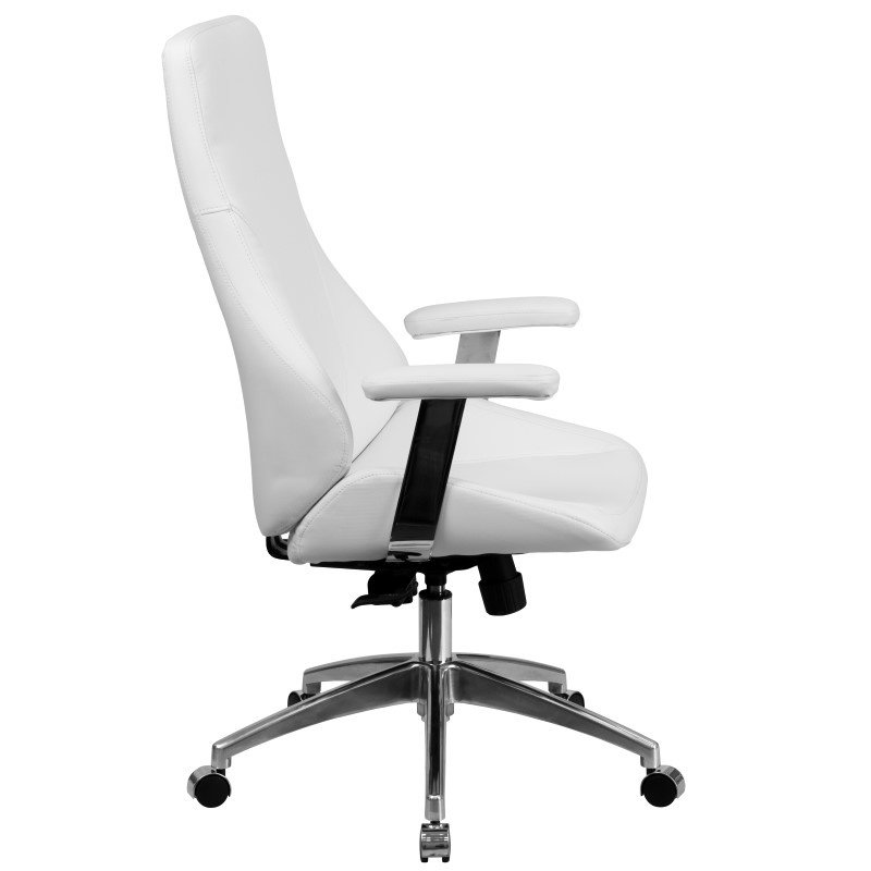 Flash Furniture High Back White Leather Executive Swivel Office Chair