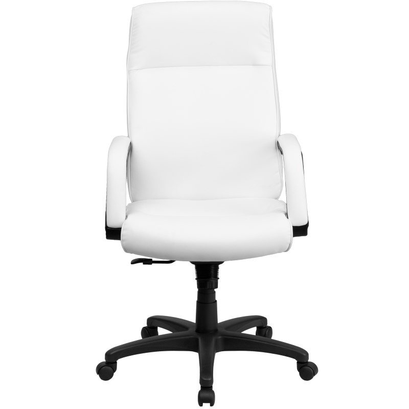 Flash Furniture High Back White Leather Executive Swivel Office Chair with Memory Foam Padding