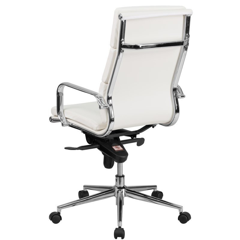 Flash Furniture High Back White Leather Executive Swivel Office Chair with Synchro-Tilt Mechanism