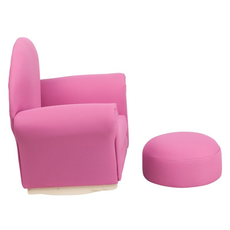 Flash Furniture Kids Hot Pink Fabric Rocker Chair and Footrest