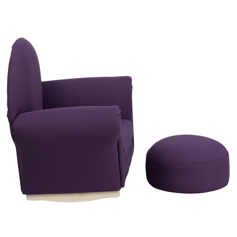 Flash Furniture Kids Purple Fabric Rocker Chair and Footrest