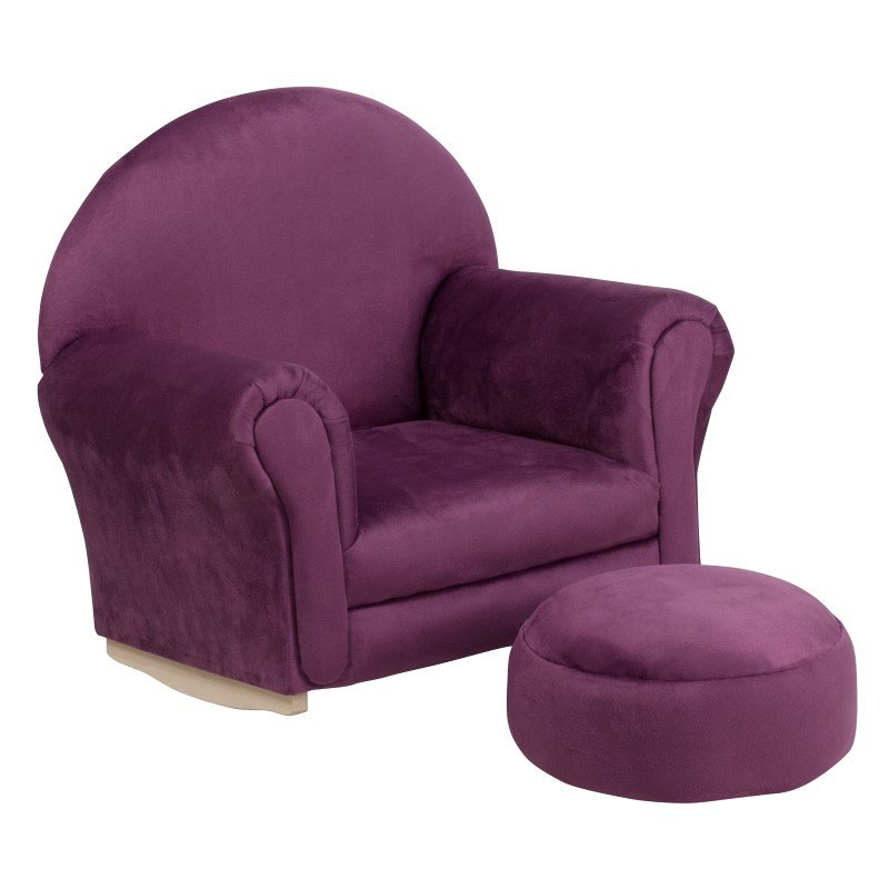 Flash Furniture Kids Purple Microfiber Rocker Chair and Footrest