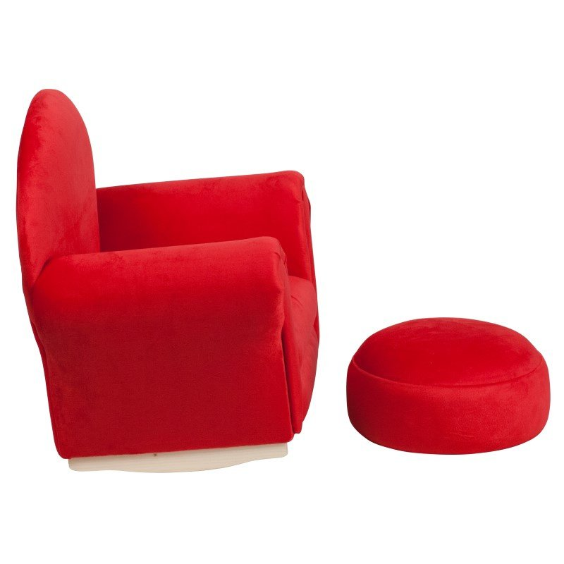 Flash Furniture Kids Red Microfiber Rocker Chair and Footrest