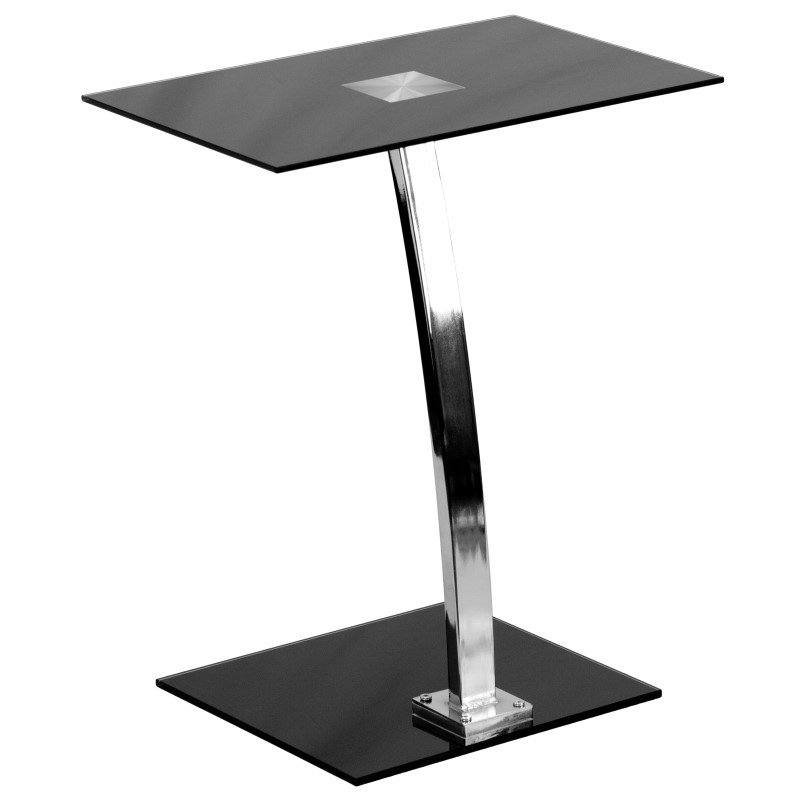 Flash Furniture Laptop Computer Desk with Silk Black Tempered Glass Top