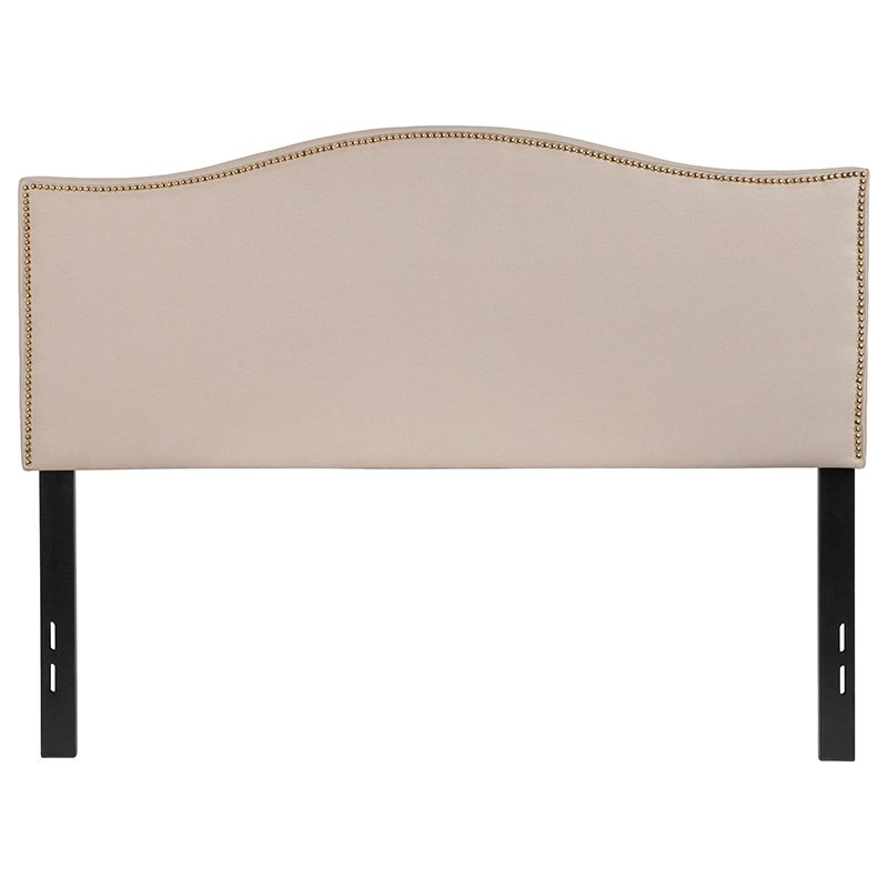 Flash Furniture Lexington Upholstered Full Size Headboard with Decorative Nail Trim in Beige Fabric (HG-HB1707-F-B-GG)