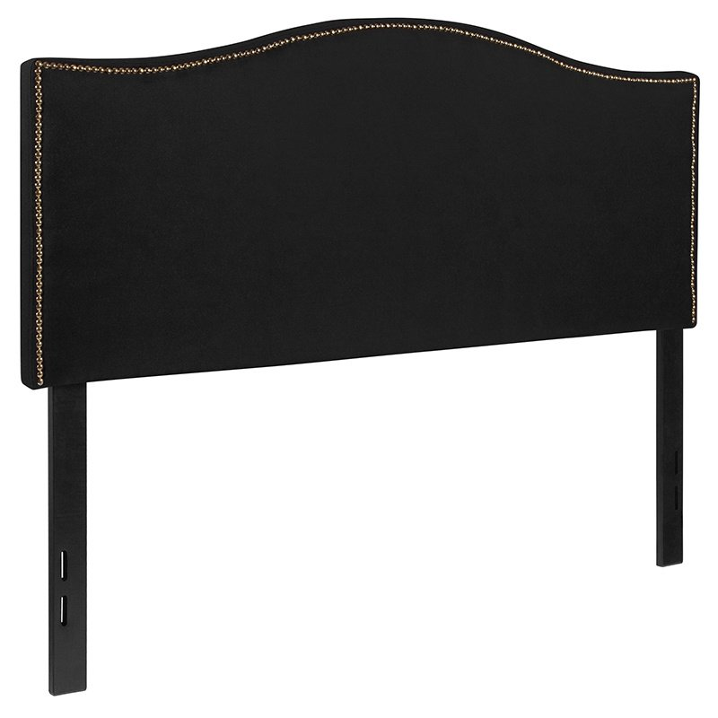 Flash Furniture Lexington Upholstered Full Size Headboard with Decorative Nail Trim in Black Fabric (HG-HB1707-F-BK-GG)
