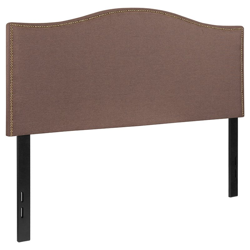 Flash Furniture Lexington Upholstered Full Size Headboard with Decorative Nail Trim in Camel Fabric (HG-HB1707-F-C-GG)