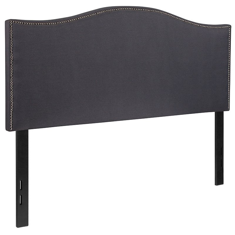 Flash Furniture Lexington Upholstered Full Size Headboard with Decorative Nail Trim in Dark Gray Fabric (HG-HB1707-F-DG-GG)