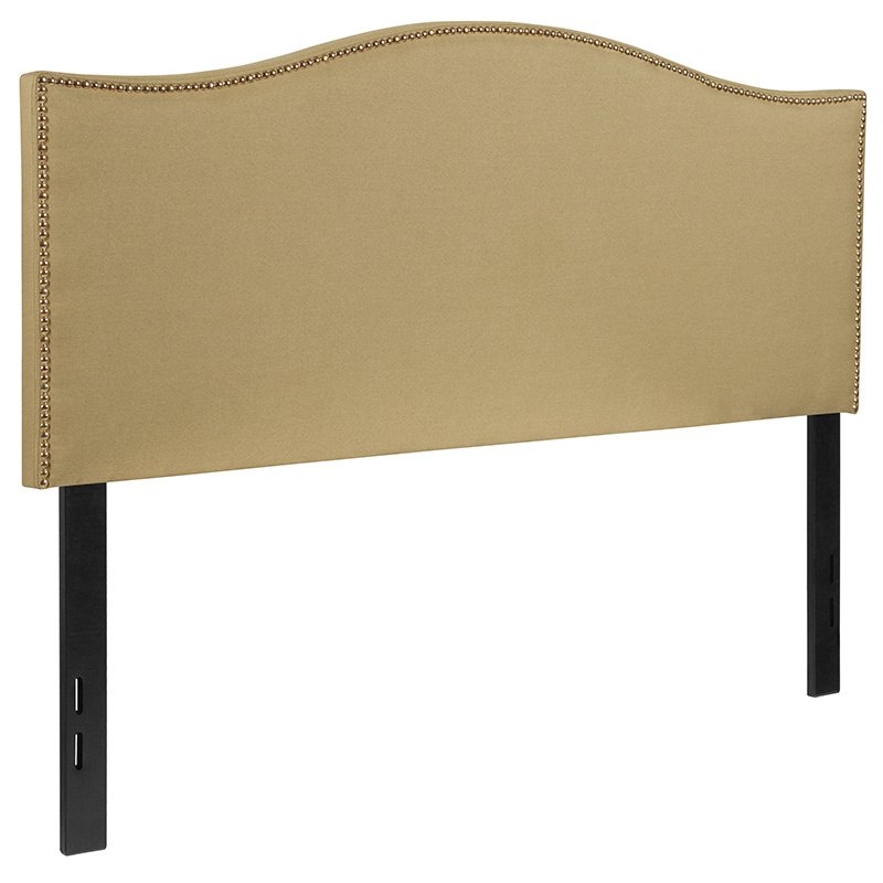 Flash Furniture Lexington Upholstered Full Size Headboard with Decorative Nail Trim in Green Fabric (HG-HB1707-F-G-GG)