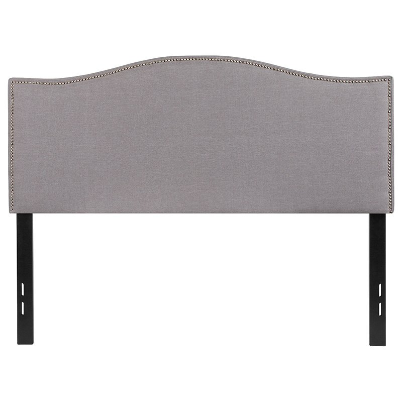 Flash Furniture Lexington Upholstered Full Size Headboard with Decorative Nail Trim in Light Gray Fabric (HG-HB1707-F-LG-GG)