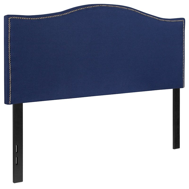Flash Furniture Lexington Upholstered Full Size Headboard with Decorative Nail Trim in Navy Fabric (HG-HB1707-F-N-GG)