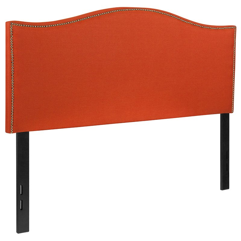 Flash Furniture Lexington Upholstered Full Size Headboard with Decorative Nail Trim in Orange Fabric (HG-HB1707-F-O-GG)