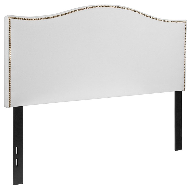 Flash Furniture Lexington Upholstered Full Size Headboard with Decorative Nail Trim in White Fabric (HG-HB1707-F-W-GG)