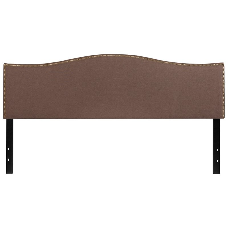 Flash Furniture Lexington Upholstered King Size Headboard with Decorative Nail Trim in Camel Fabric (HG-HB1707-K-C-GG)