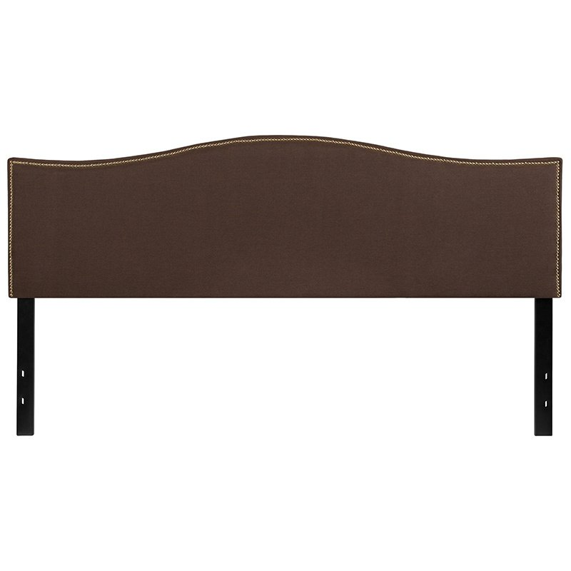 Flash Furniture Lexington Upholstered King Size Headboard with Decorative Nail Trim in Dark Brown Fabric (HG-HB1707-K-DBR-GG)