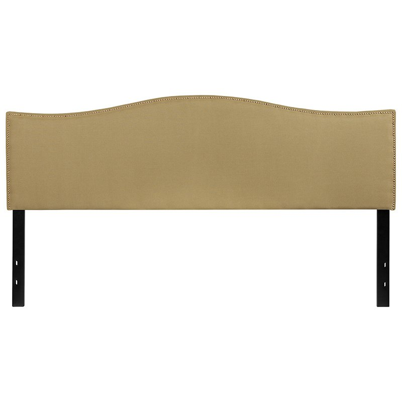 Flash Furniture Lexington Upholstered King Size Headboard with Decorative Nail Trim in Green Fabric (HG-HB1707-K-G-GG)