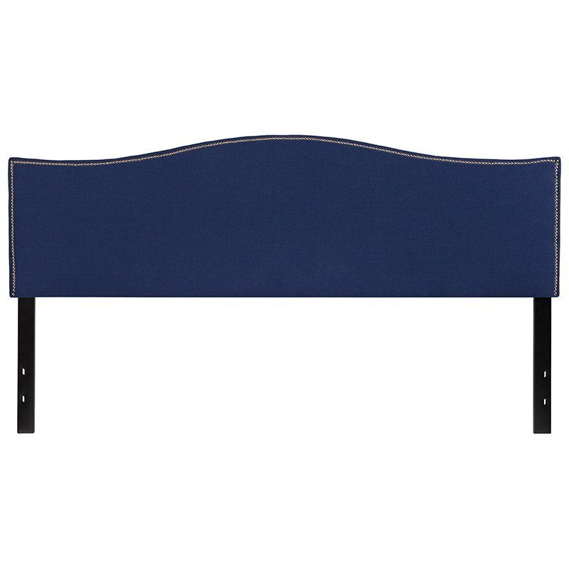 Flash Furniture Lexington Upholstered King Size Headboard with Decorative Nail Trim in Navy Fabric (HG-HB1707-K-N-GG)