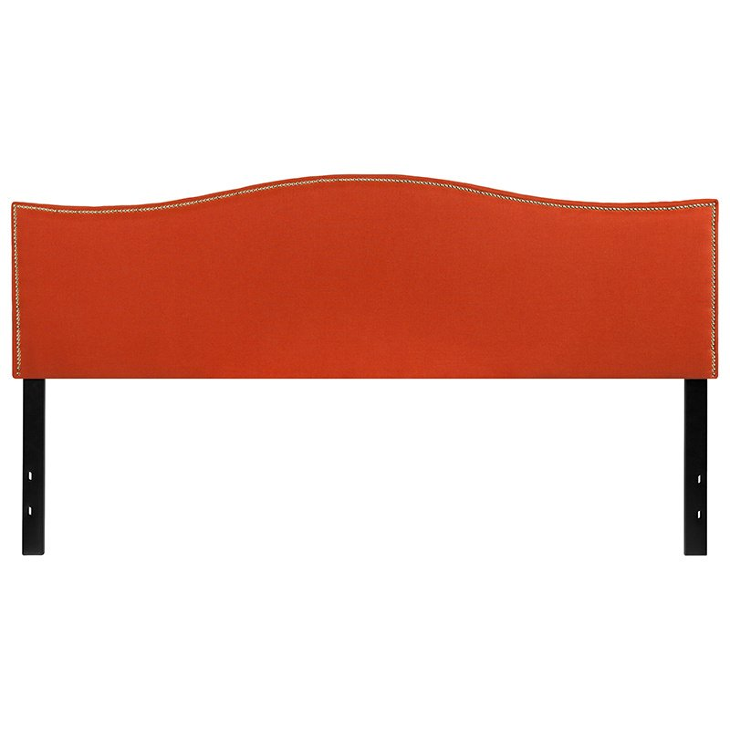Flash Furniture Lexington Upholstered King Size Headboard with Decorative Nail Trim in Orange Fabric (HG-HB1707-K-O-GG)