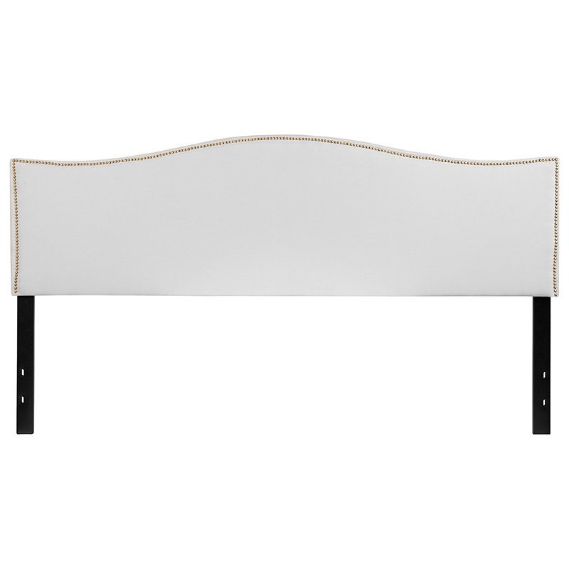 Flash Furniture Lexington Upholstered King Size Headboard with Decorative Nail Trim in White Fabric (HG-HB1707-K-W-GG)